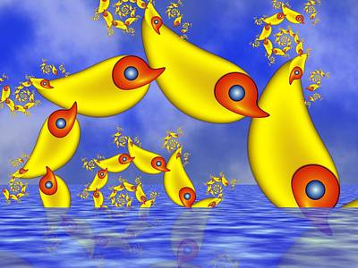 Poster featuring the digital art Jumping Fantasy Animals by Gabiw Art