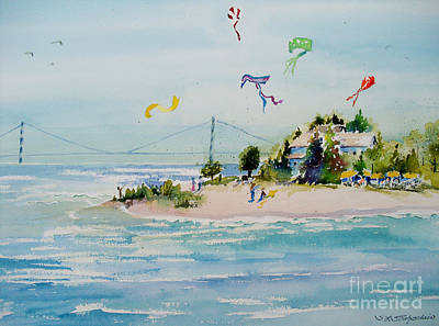 Poster featuring the painting Flying High On Mackinac Island by Sandra Strohschein
