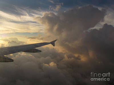 Poster featuring the photograph Flying In The Clouds by Inge Riis McDonald