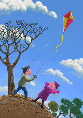 Flying Kite On Windy Day Poster by Martin Davey