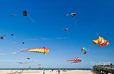 Flying Kites At St Augustine Beach Pier Poster by Michelle Wiarda