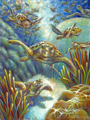 Flying Loggerhead Turtles Poster