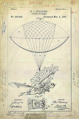 Flying Machine Patent Poster by Us Patent And Trademark Office