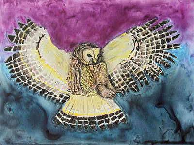 Poster featuring the painting Flying Owl by Jeanne Fischer