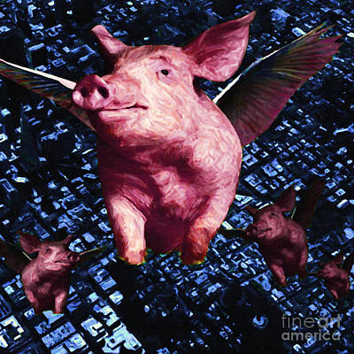 Flying Pigs Over San Francisco - Square Poster by Wingsdomain Art and Photography