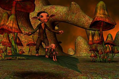 Poster featuring the digital art Flying Through A Wonderland by Gabiw Art