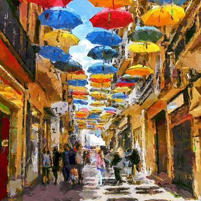 Flying Umbrellas Poster by Yury Malkov