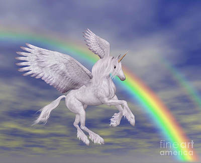 Flying Unicorn And Rainbow Poster by Smilin Eyes  Treasures