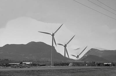 Flying Wind Turbines Poster by Mavis Reid Nugent