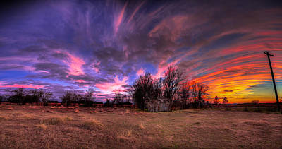 Fm Sunset Pano In Needville Texas Poster by Micah Goff