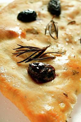 Focaccia With Olives And Rosemary (close-up) Poster