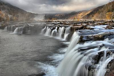 Fog And Foliage At Sandstone Falls Poster by Adam Jewell