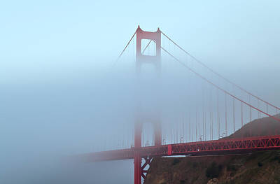 Poster featuring the photograph Fog And The Golden Gate by Jonathan Nguyen