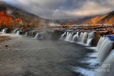 Fog In The Sandstone Falls Valley Poster by Adam Jewell