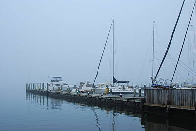 Fog On The Marina - Jersey Shore Poster by Angie Tirado