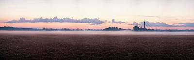 Fog Over Farm At Sunrise, Marion Poster by Panoramic Images