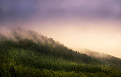 Fog Over Loch Ness Hills Poster by Jenny Rainbow