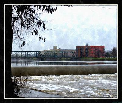 Fog Over Sixth Street Bridge From Fish Ladder Park And Dam Over The Grand River Poster