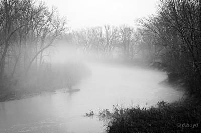 Fog Over The Stream Poster by Diana Boyd