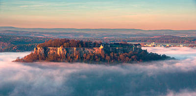Fog Surrounding The Fortress Koenigstein Poster