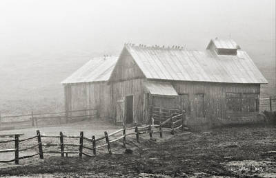 Poster featuring the photograph Foggy Barn by Joan Davis