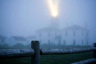 Foggy Day At The Lighthouse Poster
