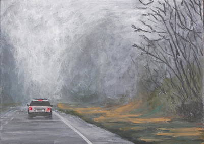 Poster featuring the painting Foggy Drive Home by Robert Decker