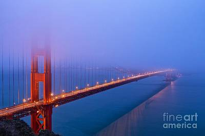 Foggy Golden Gate Bridge Poster by Mel Ashar