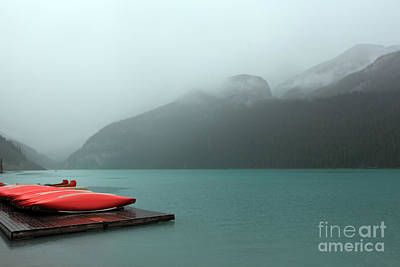 Foggy Lake Louise In Banff Alberta Poster