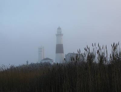 Foggy Montauk Lighthouse Poster by Karen Silvestri