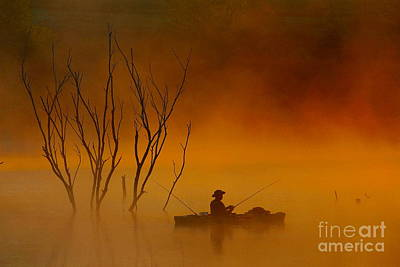 Foggy Morning Fisherman Poster by Elizabeth Winter