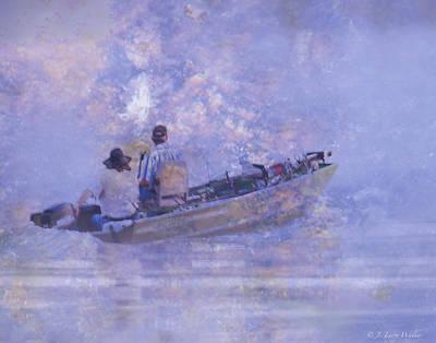 Foggy Morning Fishermen Poster by J Larry Walker