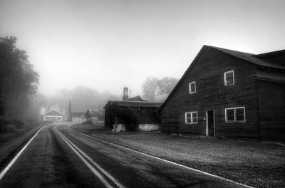 Foggy Morning In Brasstown Nc In Black And White Poster by Greg and Chrystal Mimbs