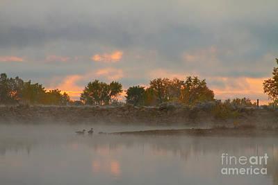Foggy Morning Lake Sunrise Poster
