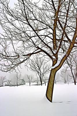 Foggy Morning Landscape - Fractalius 3 Poster