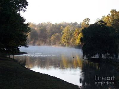 Foggy Morning On Lake Lanier Poster by Angelia Hodges Clay