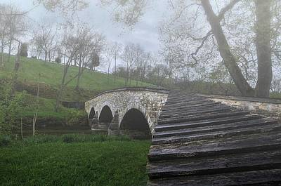 Foggy Morning Over The Antietam Creek Poster by Dave Sandt