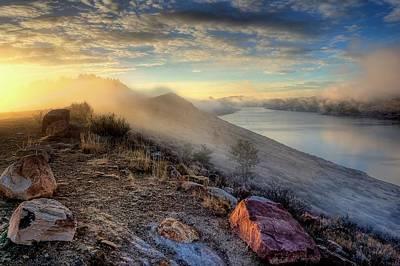 Foggy Morning Sunrise Poster by Steve Barge
