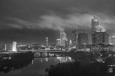 Foggy Night Over The Austin Skyline Austin Texas Black And White Poster by Rob Greebon