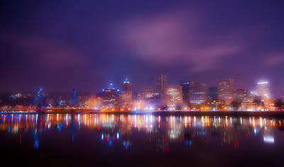 Foggy Portland Nights Poster