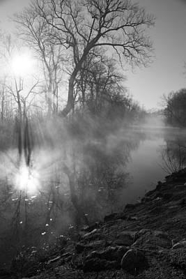 Foggy River Morning Sunrise Poster
