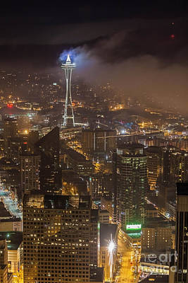Foggy Space Needle Poster by Mike Reid
