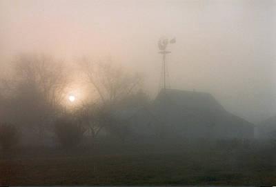 Foggy Sunrise Over Barn Poster