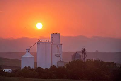 Foggy Sunrise Over Grain Elevator Poster by Chuck Haney