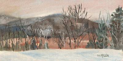 Foggy Winter Morning In Intervale Poster by Sharon E Allen