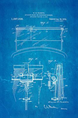 Folberth Windshield Wiper Patent Art 1921 Blueprint Poster