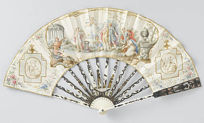 Folding Fan With Sheet Of Thin Leather With In Watercolor Poster