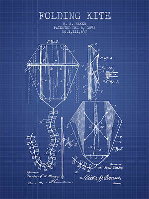 Folding Kite Patent From 1892- Blueprint Poster by Aged Pixel