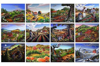 Folk Art Seasonal Seasons Sampler Greetings Rural Country Farm Collection Farms Landscape Scene Poster by Walt Curlee