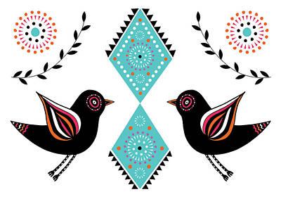 Folk Bird Poster by Susan Claire